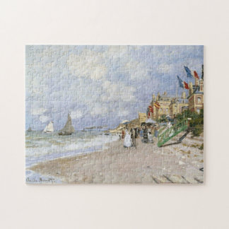 Boardwalk Beach at Trouville Monet Fine Art Jigsaw Puzzle