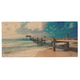 Boardwalk By The Sea Wood USB Flash Drive