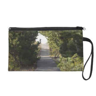 Boardwalk footpath through evergreen wristlet clutch