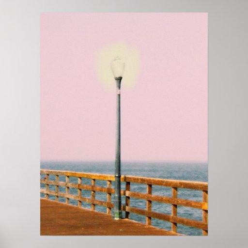 Boardwalk Lamppost Seal Beach Digital Art Poster