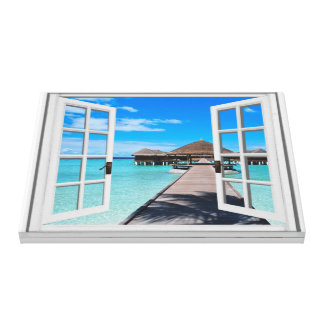 Boardwalk Ocean View Faux Window Canvas Print