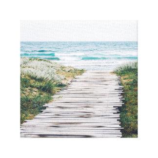 Boardwalk on the beach canvas print