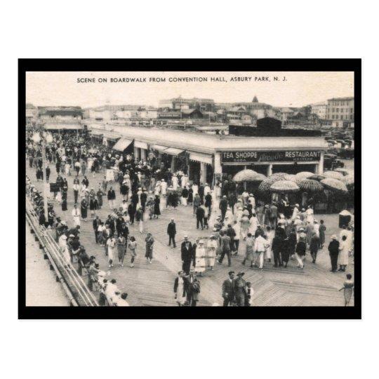 Boardwalk Scene, Asbury Park, NJ 1930s Vintage Postcard