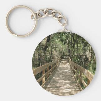 Boardwalk Through the Woods Basic Round Button Key Ring