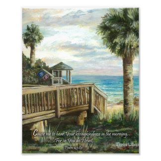 Boardwalk with Life Guard- Psalm 143:8a Photo Print
