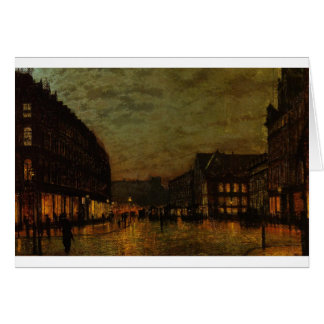 Boars Lane, Leeds by Lamplight by John Atkinson Greeting Card