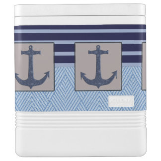 Boat Anchor design & Navy Blue Nautical  Stripes Igloo Cooler