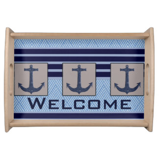 Boat Anchor design & Navy Blue Nautical Stripes Serving Tray