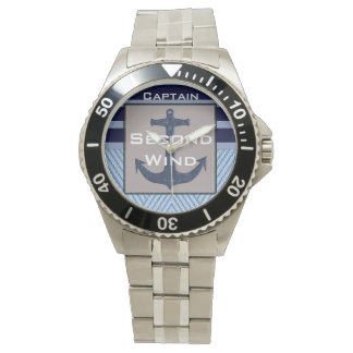 Boat Anchor design & Navy Blue Nautical Stripes Watch