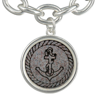 Boat Anchor Insignia Silver Charm Bracelet