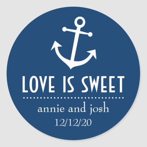 Boat Anchor Love Is Sweet Labels (Dark Blue) Stickers