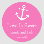 Boat Anchor Love Is Sweet Labels (Dark Pink) Round Stickers