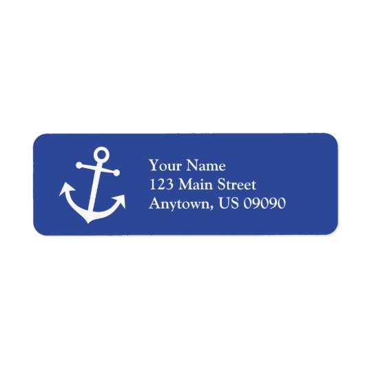 Boat Anchor Return Address Label (Navy Blue/White)