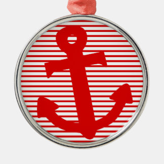 Boat Anchor Silver-Colored Round Decoration