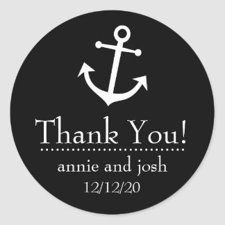 Boat Anchor Thank You Labels (Black)