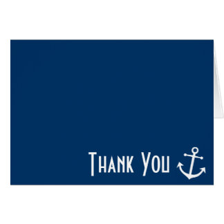 Boat Anchor Thank You Note Cards (Dark Blue)