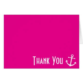 Boat Anchor Thank You Note Cards (Magenta Pink)
