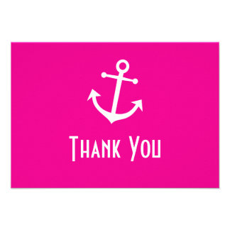 Boat Anchor Thank You Note Cards Magenta Pink Invitation