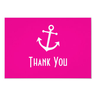 Boat Anchor Thank You Note Cards (Magenta Pink) Invitation