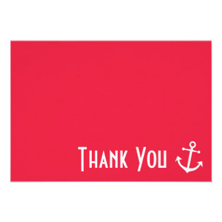 Boat Anchor Thank You Note Cards Red Personalized Invitation