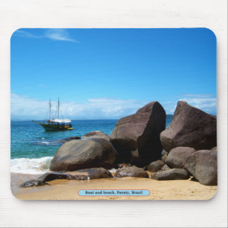 Boat and beach, Paraty, Brazil Mousepads