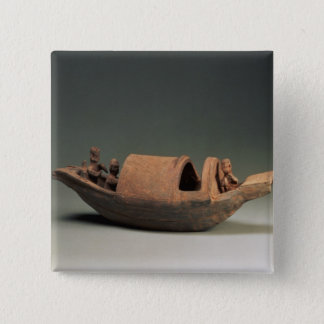 Boat and crew, tomb artefact 15 cm square badge