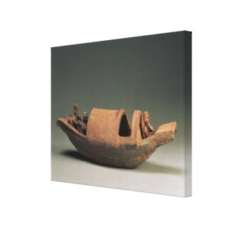 Boat and crew, tomb artefact canvas print