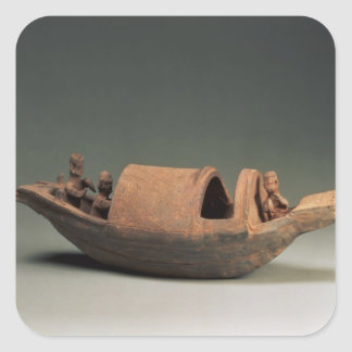 Boat and crew, tomb artefact square sticker