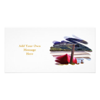 BOAT AND MOUNTAIN LANDSCAPE PERSONALISED PHOTO CARD