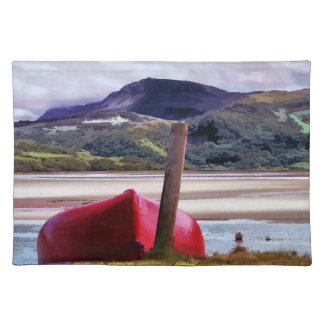BOAT AND MOUNTAIN LANDSCAPE PLACEMAT