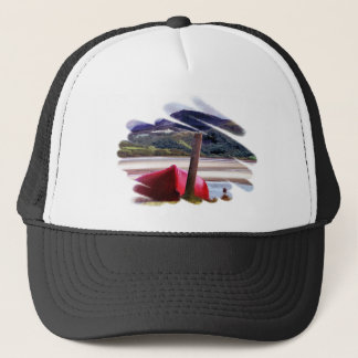 BOAT AND MOUNTAIN LANDSCAPE TRUCKER HAT