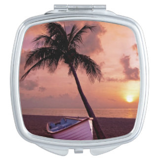 Boat and Palm Tree sunset compact mirror
