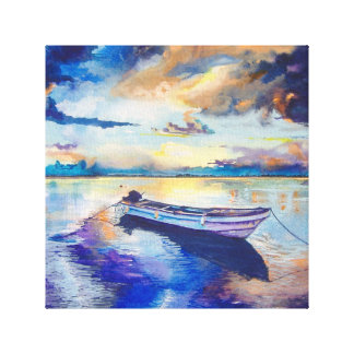 Boat and sunset canvas print