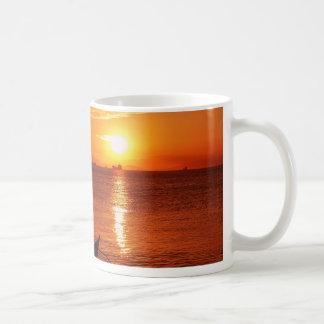 boat and sunset coffee mugs