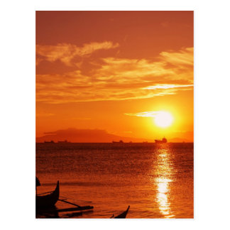 boat and sunset postcard