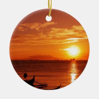 boat and sunset round ceramic decoration