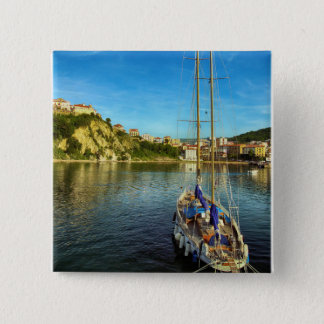 Boat Approaching Shore | Agropoli 15 Cm Square Badge