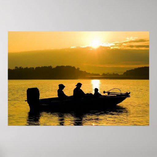 Boat at Sunrise Poster