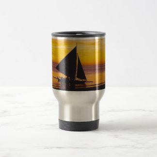 Boat at sunset coffee mugs