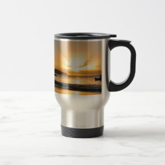 Boat at sunset travel mug