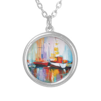 Boat berth silver plated necklace