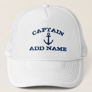 Boat captain hats with nautical anchor and name