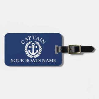 Boat captain nautical ships anchor luggage tag