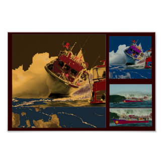 Boat Crossing High Tides Poster