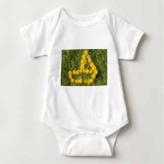 boat designed with dandelion on the lawn baby bodysuit