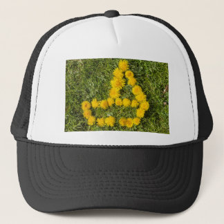 boat designed with dandelion on the lawn trucker hat