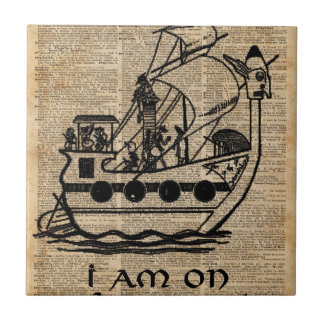 Boat Expedition,Vintage  Ink Dictionary Art Small Square Tile
