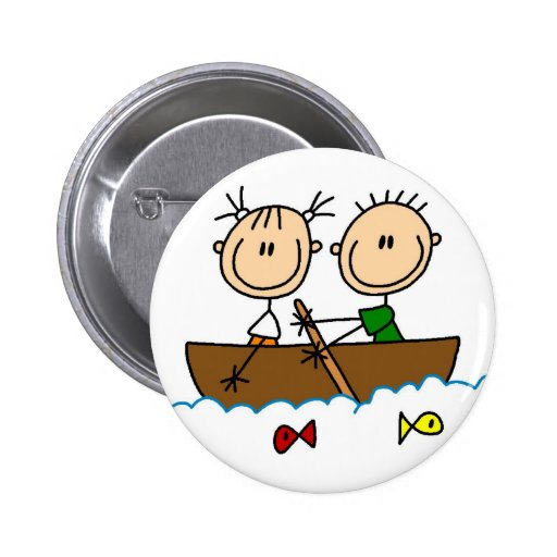 Boat Fishing Stick Figure Button
