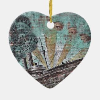 Boat Graffiti Ceramic Heart Decoration