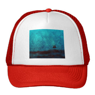 Boat in fog photo painting baseball cap